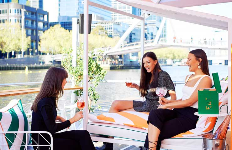 Arbory Afloat Arbory riverside drinks day bar Yarra River Melbourne day drinks europe whats on Melbourne food wine cocktails